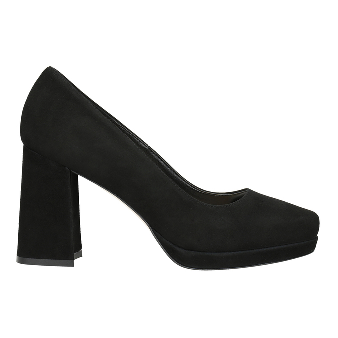 Leather Pumps with Chunky Heel bata, black , 723-6950 - 26