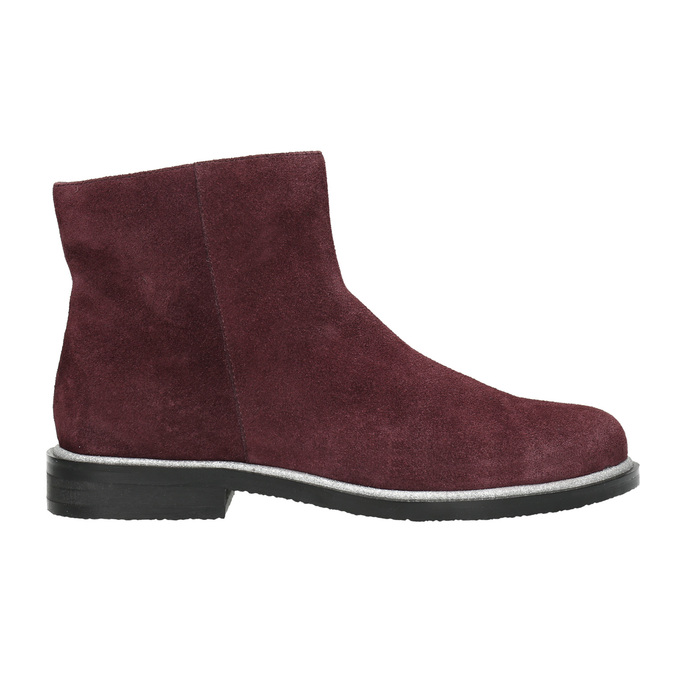 Brushed leather ankle boots bata, red , 593-5603 - 15