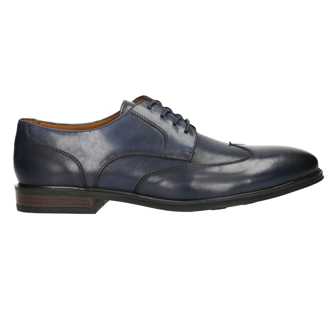 Men's blue leather shoes bata, blue , 826-9914 - 15