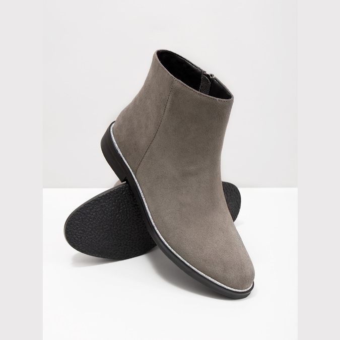Brushed leather ankle boots bata, gray , 593-2603 - 18