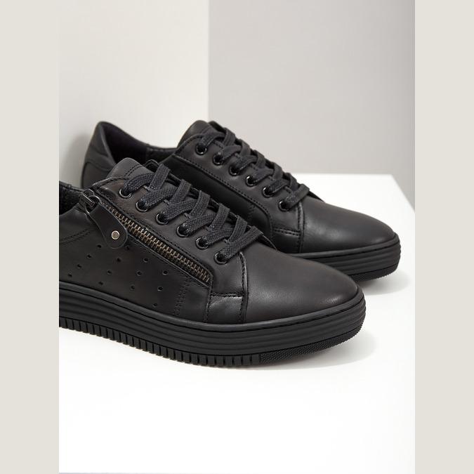 Ladies' leather sneakers bata, black , 526-6630 - 14