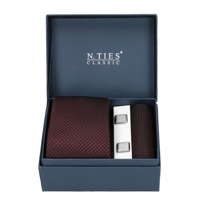 Tie, Handkerchief, and Cufflinks Set bata, red , 999-5293 - 13