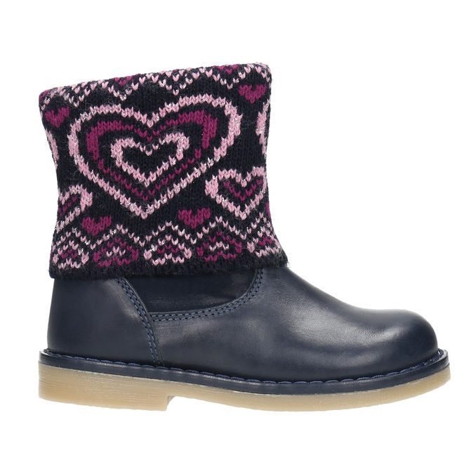 Girls' Leather Boots with Knit Jumper mini-b, blue , 294-9201 - 26