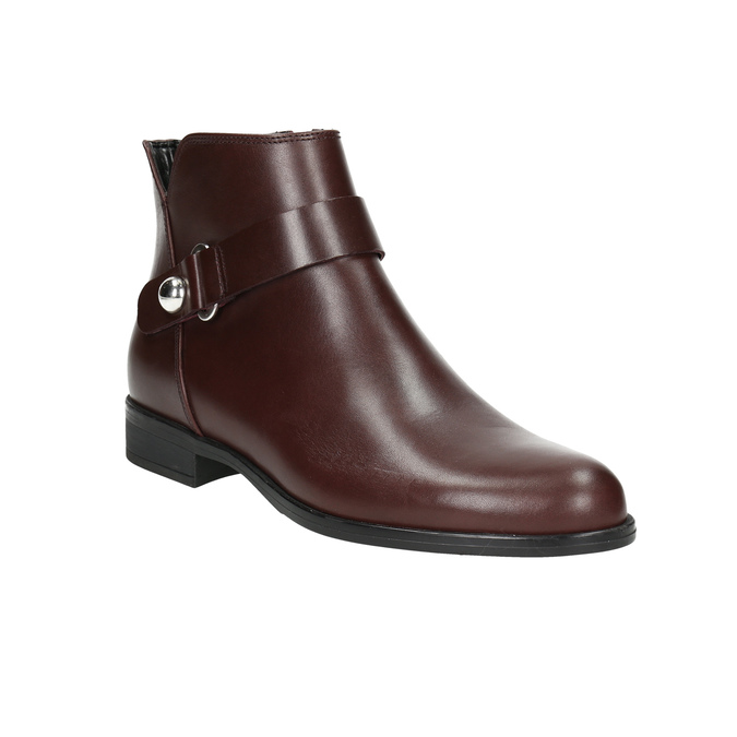 Burgundy Leather Ankle Boots bata, red , 596-5669 - 13