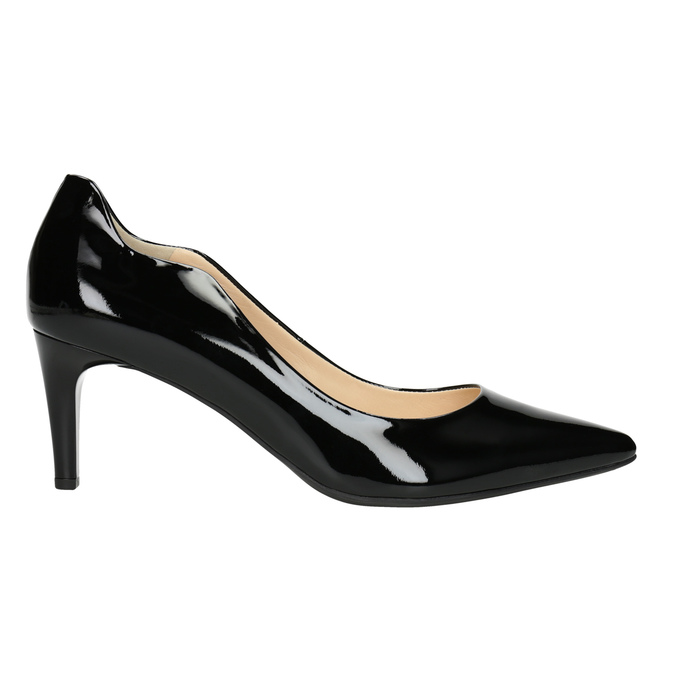 Ladies' Leather Pumps with Cutouts hogl, black , 728-6054 - 26