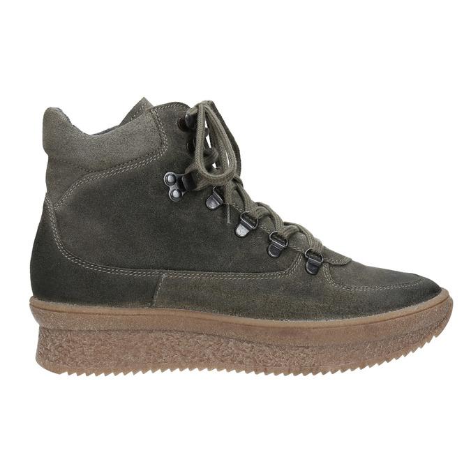 Ladies' leather flatform shoes bata, gray , 596-2673 - 26