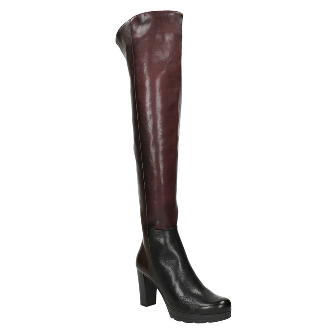 Ladies' heeled leather high boots bata, brown , 796-2651 - 13