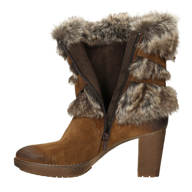 High-Heeled High Boots with Fleece manas, brown , 793-3609 - 15