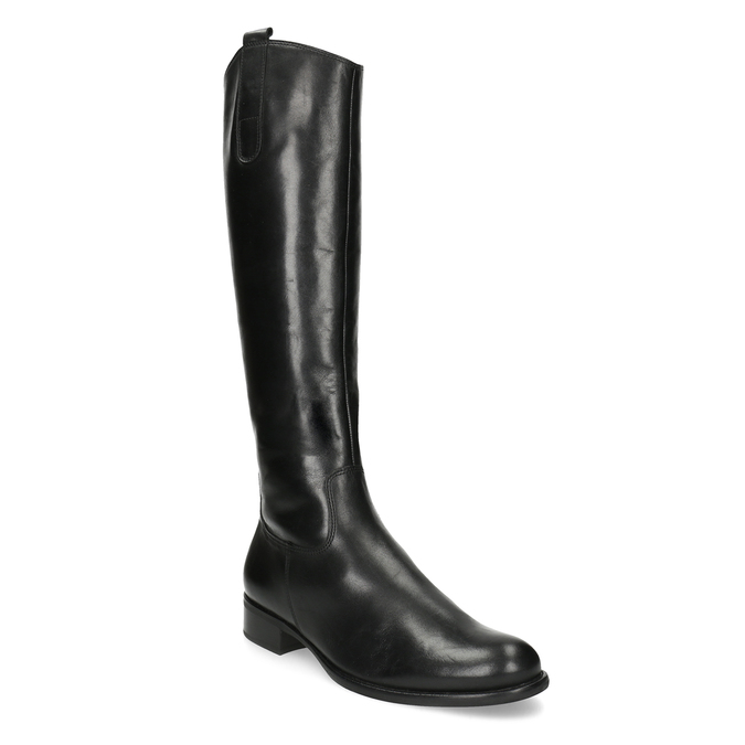 Ladies' leather high boots with low heel gabor, black , 694-6007 - 13