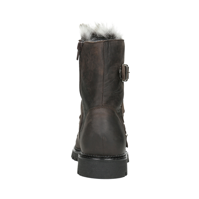Ladies' Leather High Boots with Fur bata, brown , 594-4656 - 16