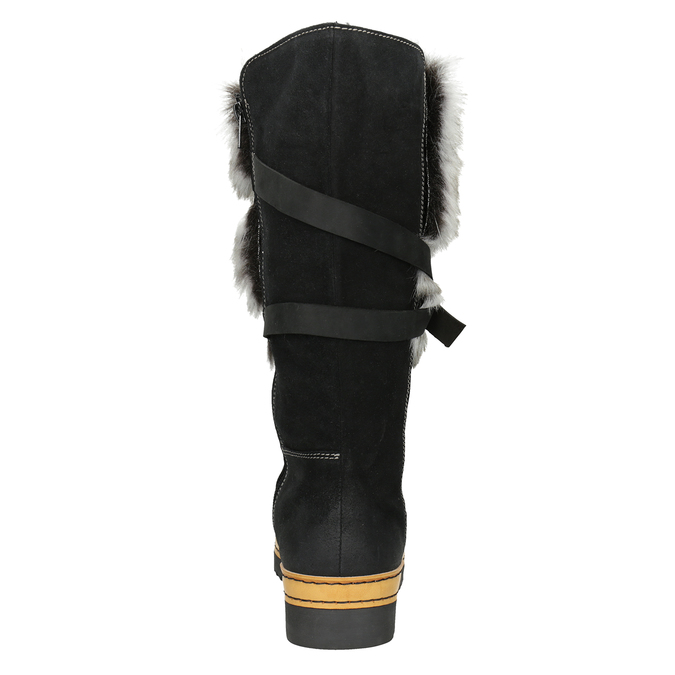 Ladies' Leather High Boots with Fleece bata, black , 596-6676 - 16