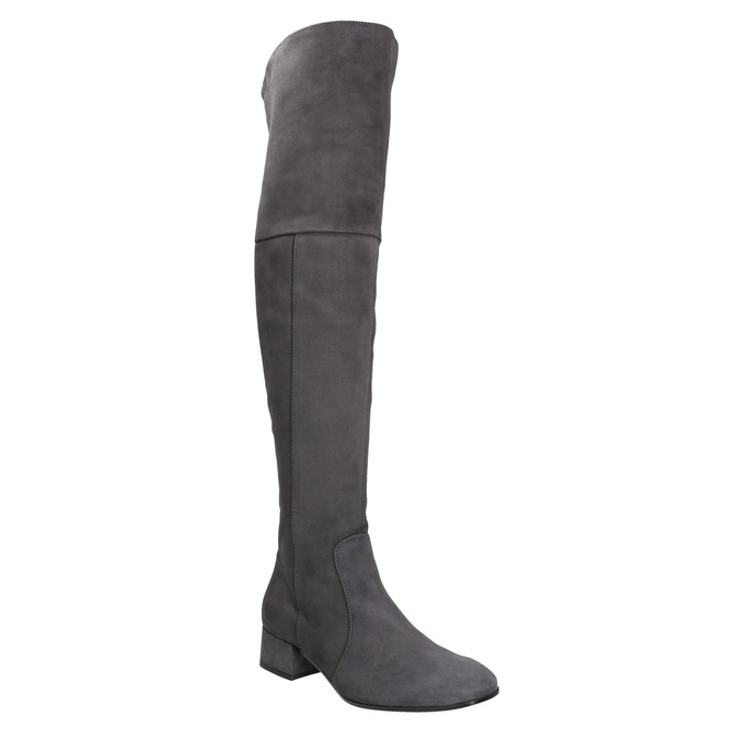 Ladies' leather high boots bata, gray , 693-2604 - 13