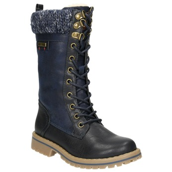 Girls' Winter Boots with Knit Jumper mini-b, blue , 391-9657 - 13