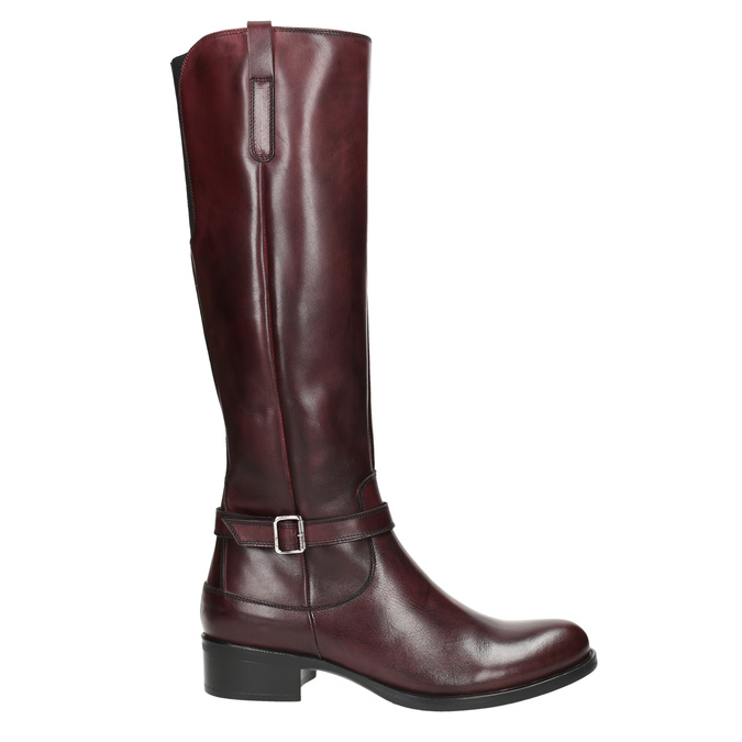 Leather High Boots with Buckle bata, red , 596-5665 - 15