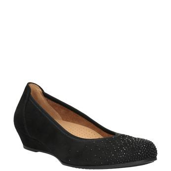 Leather ballerina G-width pumps gabor, black , 623-6018 - 13