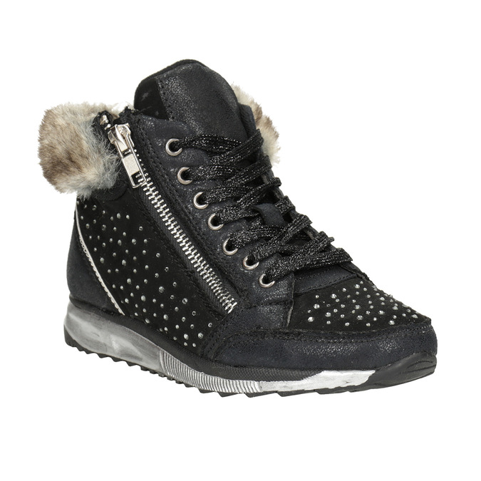Children's winter boots with rhinestones mini-b, black , 329-6287 - 13