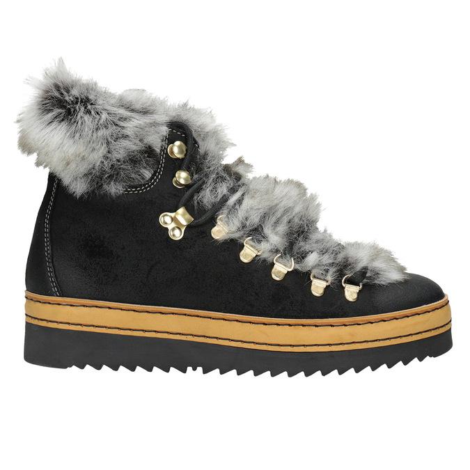 Ladies' Winter Boots with Fur bata, black , 596-6675 - 26