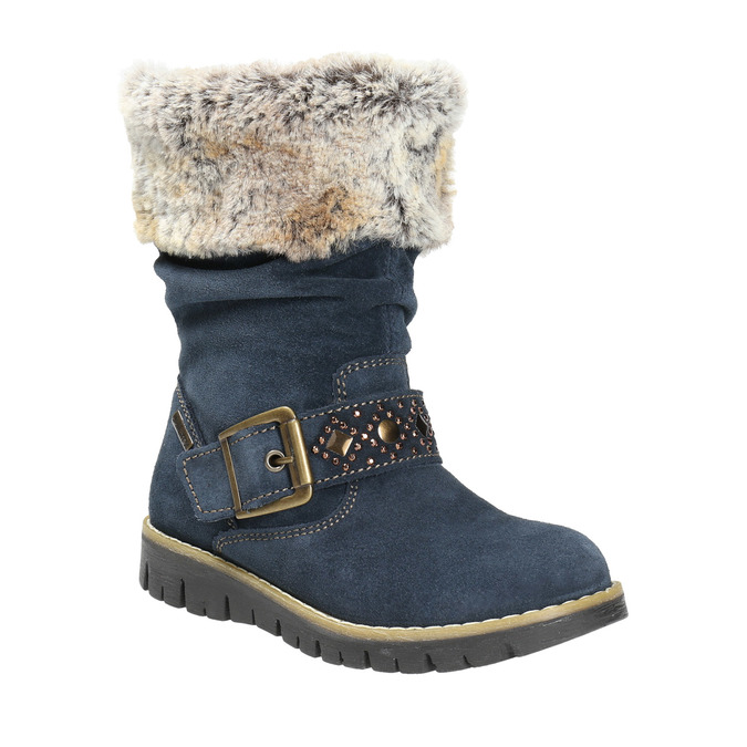 Girls' High Boots with Fur mini-b, blue , 393-9605 - 13