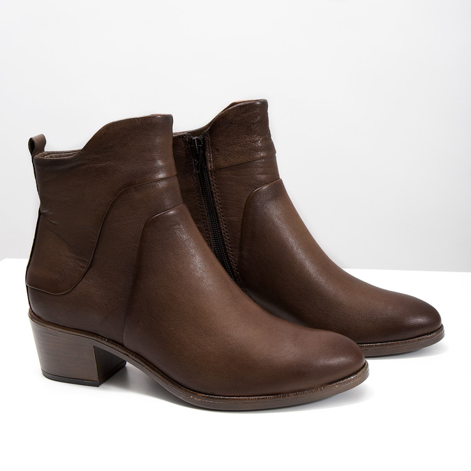 High ankle boots with stable heel bata, brown , 696-4654 - 18