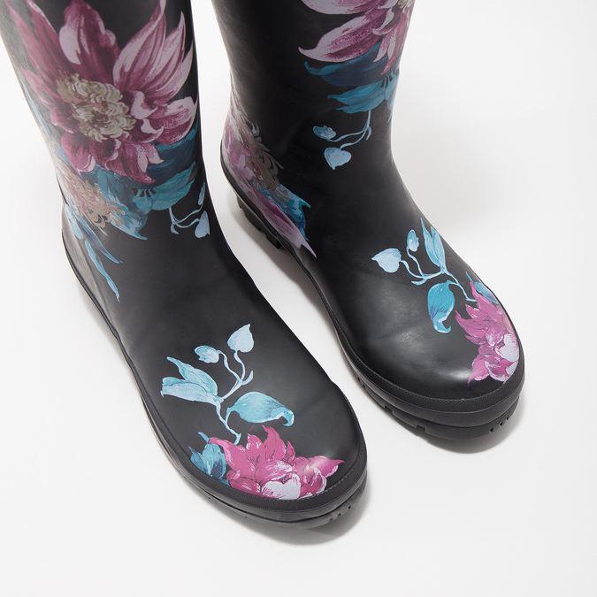 Ladies' Wellingtons with Flowers joules, black , 502-6035 - 14