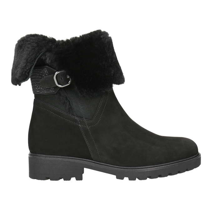 Leather Ankle Boots with Fur gabor, black , 616-6009 - 26