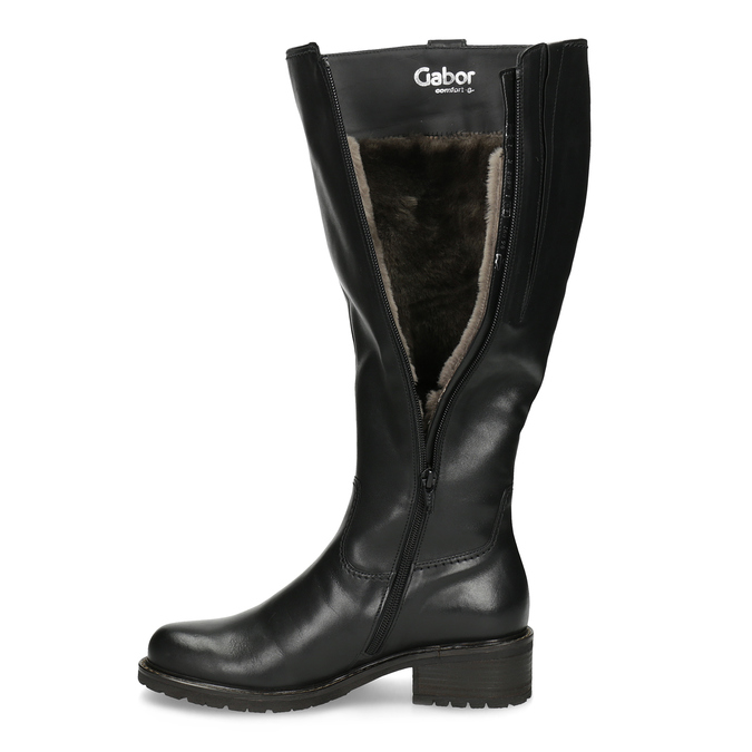 Ladies' Black Leather High Boots gabor, black , 694-6139 - 17