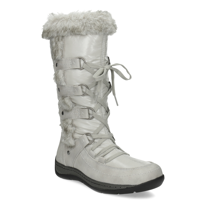 Winter snow boots with fur bata, gray , 599-8618 - 13