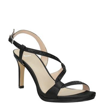 Ladies' party sandals with rhinestones bata, black , 729-6611 - 13
