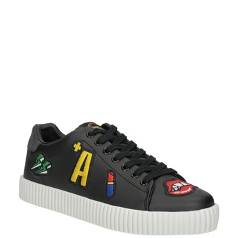 Casual black sneakers with patches north-star, black , 541-9602 - 13