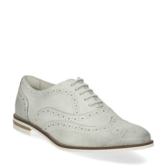 Ladies' leather Brogue shoes bata, white , 526-1649 - 13