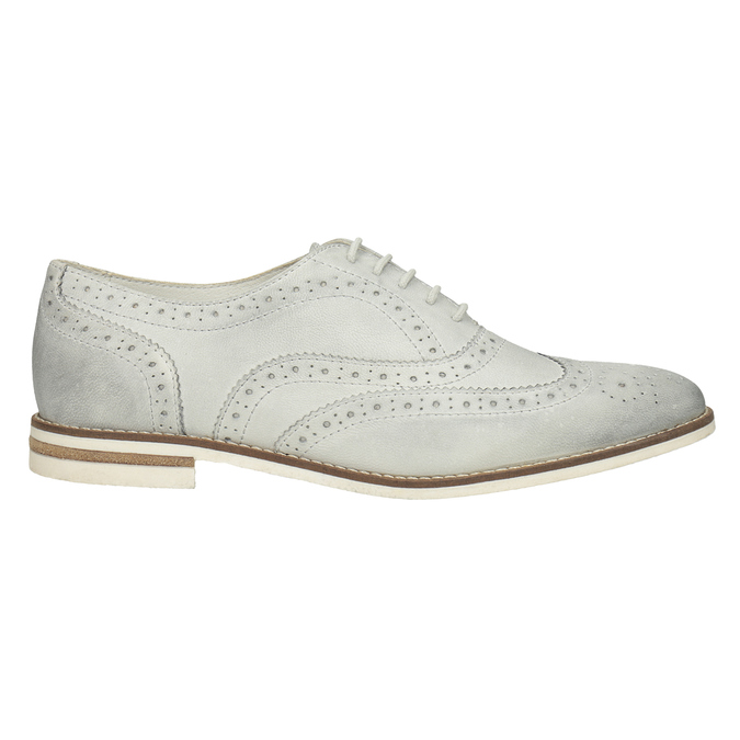 Ladies' leather Brogue shoes bata, white , 526-1649 - 26
